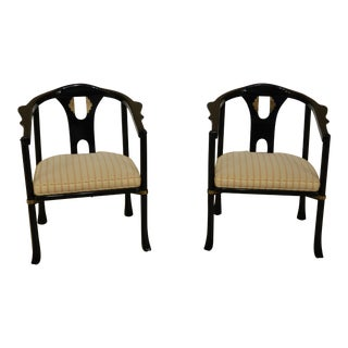 Pair of Century Chinese Style Black Lacquer Modern Armchair For Sale