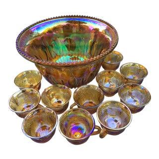 Vintage Indiana Iridescent Carnival Glass Marigold Harvest Grapes Punch Bowl Set For Sale