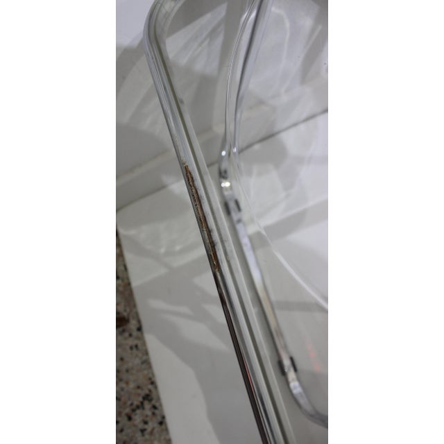 Vintage Casselli Plia Folding Chairs in Lucite and Chrome - a Set of 4 For Sale - Image 12 of 13