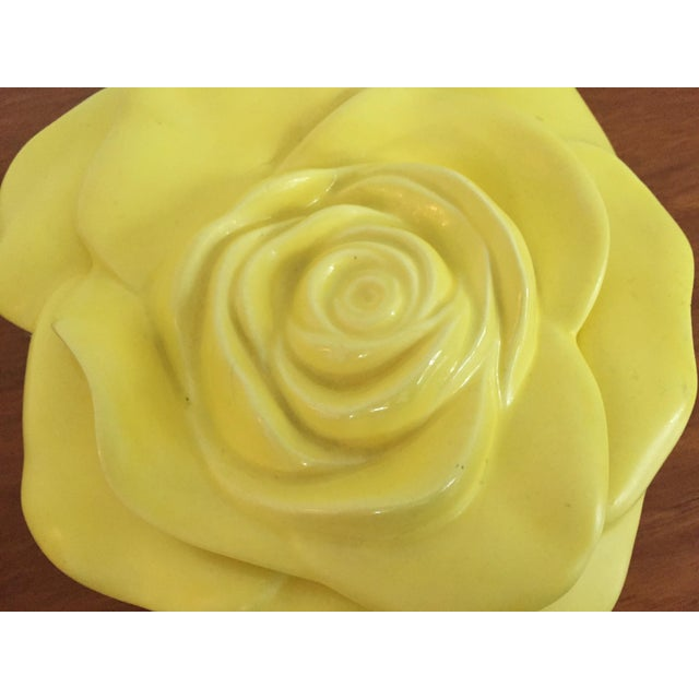 Art Deco Vintage Ceramic Yellow Rose Dish For Sale - Image 3 of 5