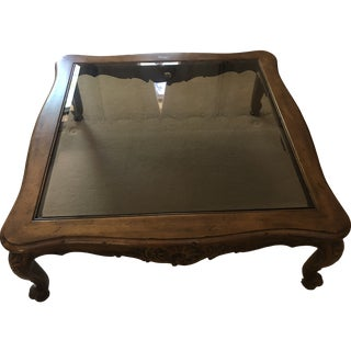French Provincial Henredon Coffee Table With Glass Top For Sale