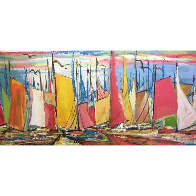 """Abstract Huge Original Joseph Friedrich Modern Fauvism Expressionist Painting Sailboats in Port O/C - 40"""" X 50"""" For Sale - Image 3 of 13"""