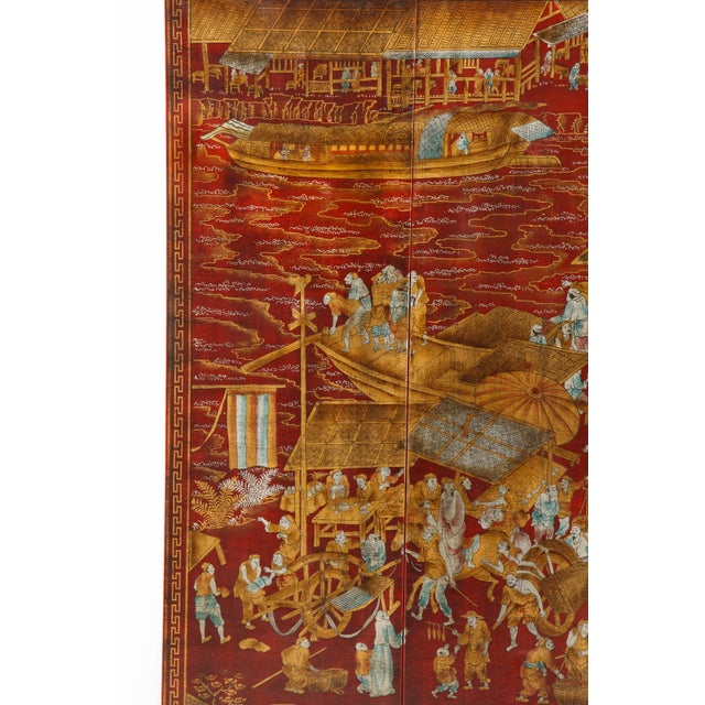 Red Lacquered Chinoiserie Panels - Set of 6 For Sale In New York - Image 6 of 13