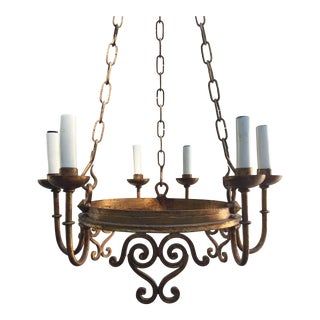 Vintage French Country Six Light Chandelier For Sale
