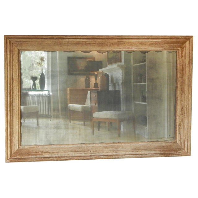 Large Distressed Wood Frame Mirror For Sale In New York - Image 6 of 6