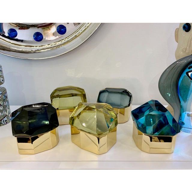 Toso Italian Modern Diamond-Shaped Gold Murano Glass and Brass Jewel-Like Box For Sale - Image 9 of 10