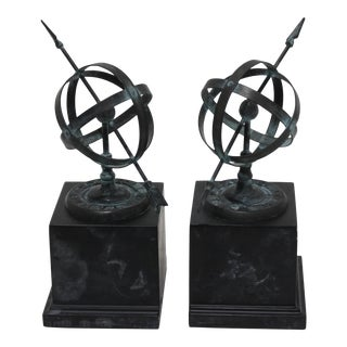 Vintage Verdigris & Stone Armillary Bookends - the Pair For Sale
