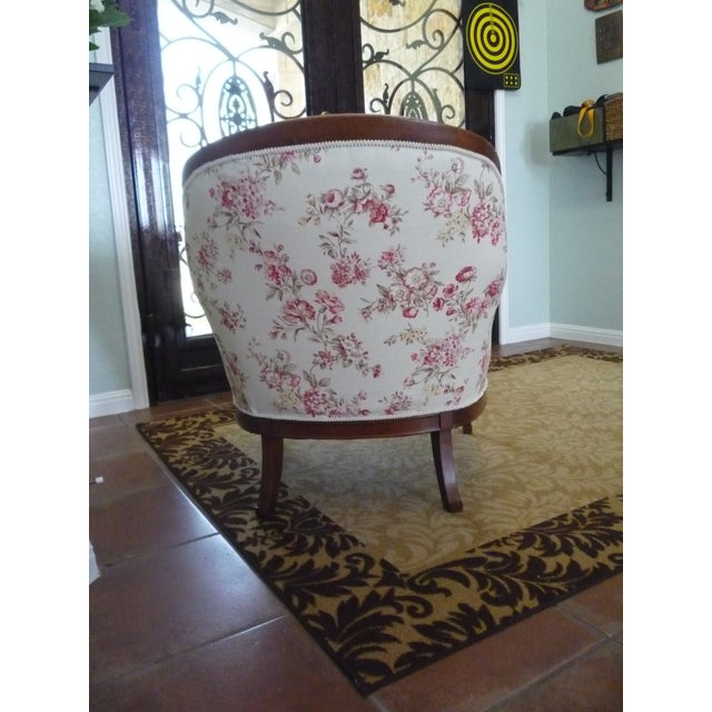 Petite Boudoir chair has been brought back to life. Hollywood Regency walnut frame was refinished, the seat and back...