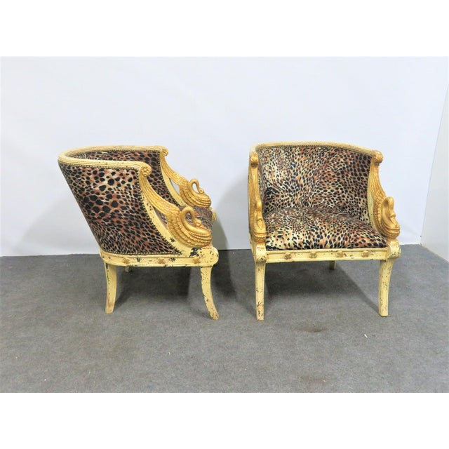 French Style Swan Carved Cream & Gilt Bergeres- a Pair For Sale - Image 4 of 8