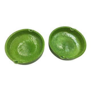 Italian Mid Century Lime Green Ceramic Ashtrays - a Pair For Sale