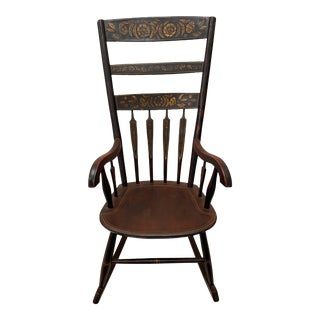 Mid 19th Century Hand Painted & Stenciled American Windsor Rocking Chair C.1850s For Sale