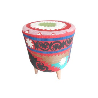 Modern Turkish Handwoven Uzbek Suzani Ottoman Footstool For Sale