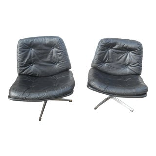 Mid-Century Modern Low Seating Black Swivel Chairs - A Pair For Sale