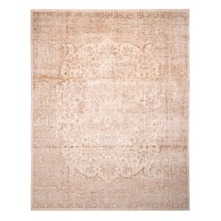 """Contemporary Oushak Beige Silk Rug-9'3'x11'11"""" For Sale"""