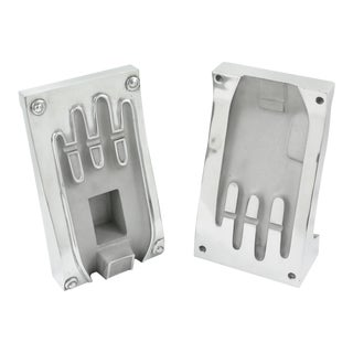 Stainless Steel Industrial Hand Glove Mold Sculpture Bookends, a Pair For Sale