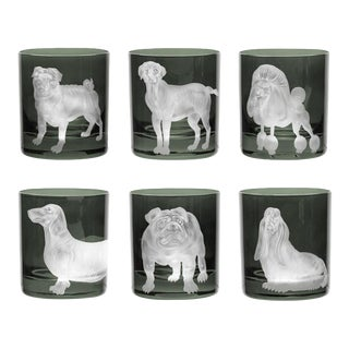 ARTEL Dog Collection Set of Double Old Fashioned Glasses, Smoke, Set of 6 For Sale