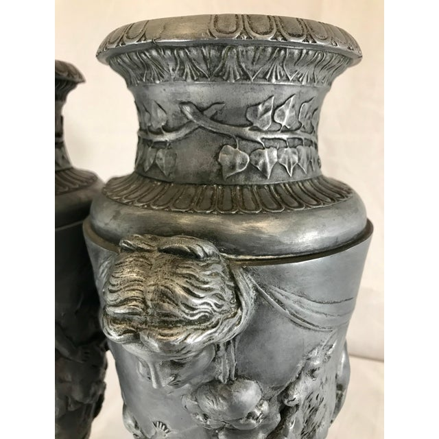 Gray 19th Century French Neoclassical Pewter on Marble Urns - a Pair For Sale - Image 8 of 13