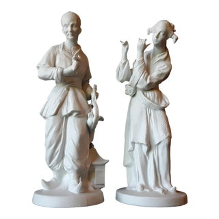 Vintage Chinese White Continental Bisque Figurines - a Pair
