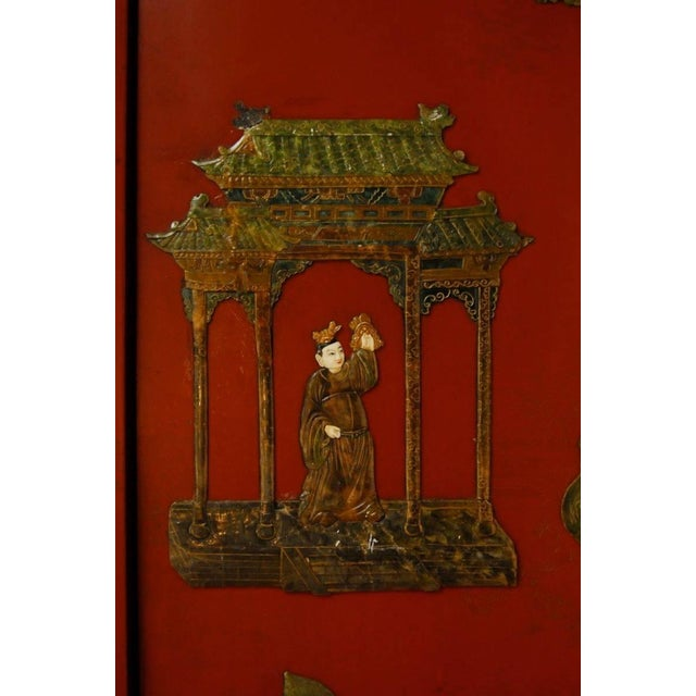 Chinese Hard-Stone & Red Lacquer Screen - Image 9 of 10
