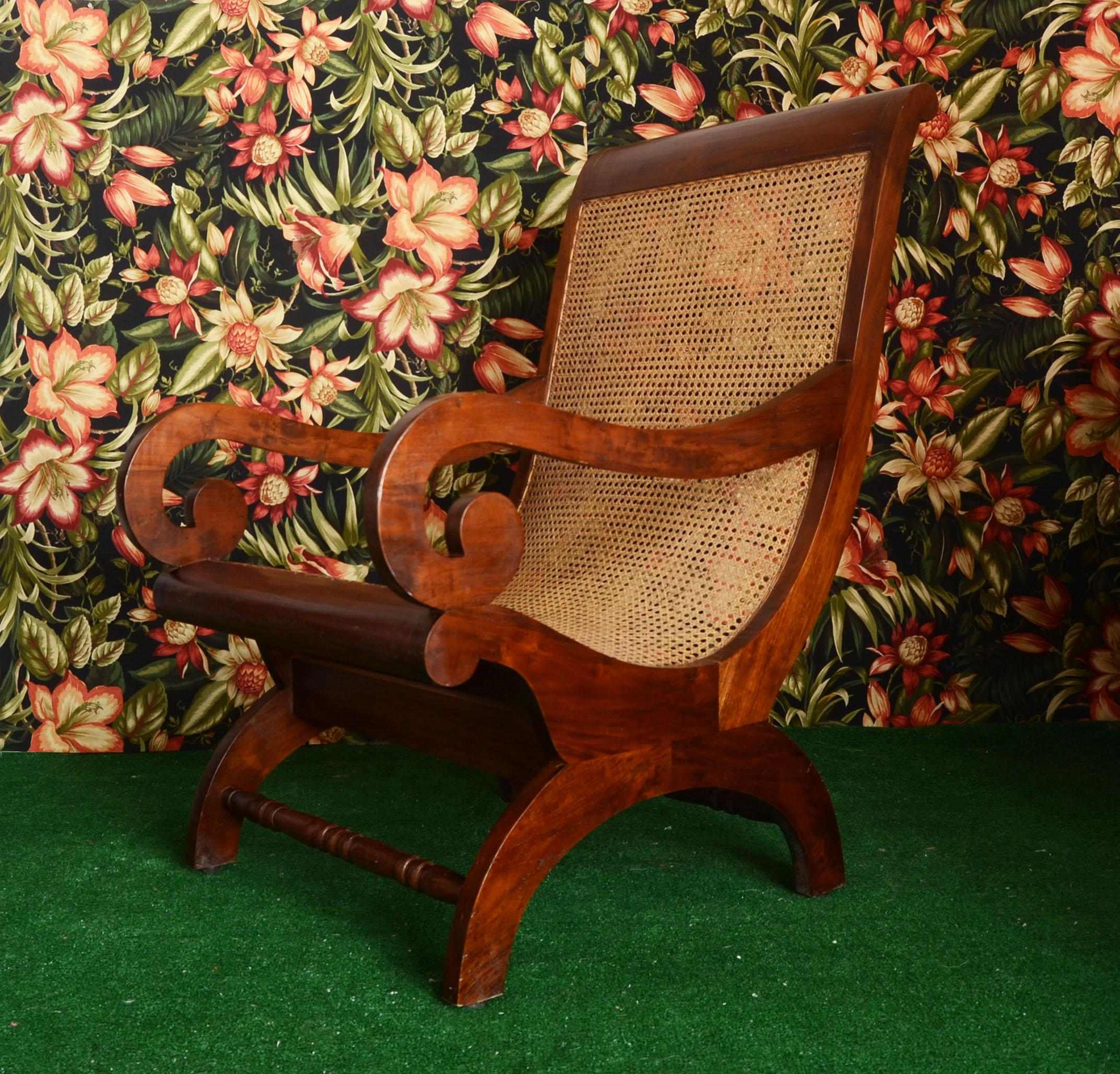 Amazing Antique Large Mahogany British Colonial Plantation Chair With  Wicker Cane Seat. Drop Dead Stunning