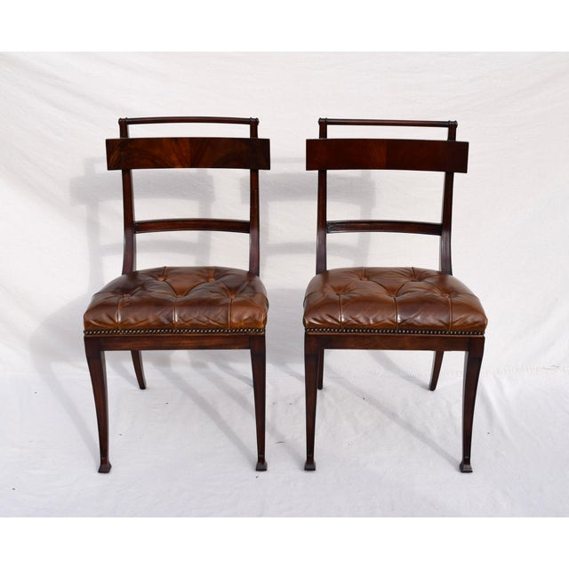 Federal Henredon Hanover Tufted Leather Dining Chairs, Pair For Sale - Image 3 of 13