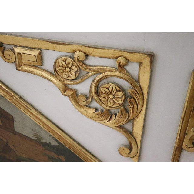 20th Century, Italian Louis XVI Style Wood Lacquered and Gilded Fireplace Mirror For Sale - Image 9 of 13