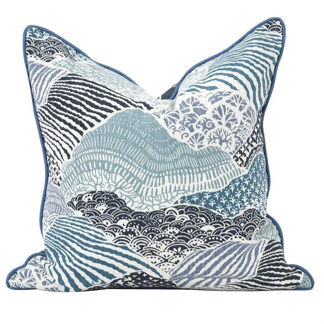 """Kenneth Ludwig Chicago Kenneth Ludwig Windsor Park Ocean 20"""" Square Pillow For Sale - Image 4 of 4"""