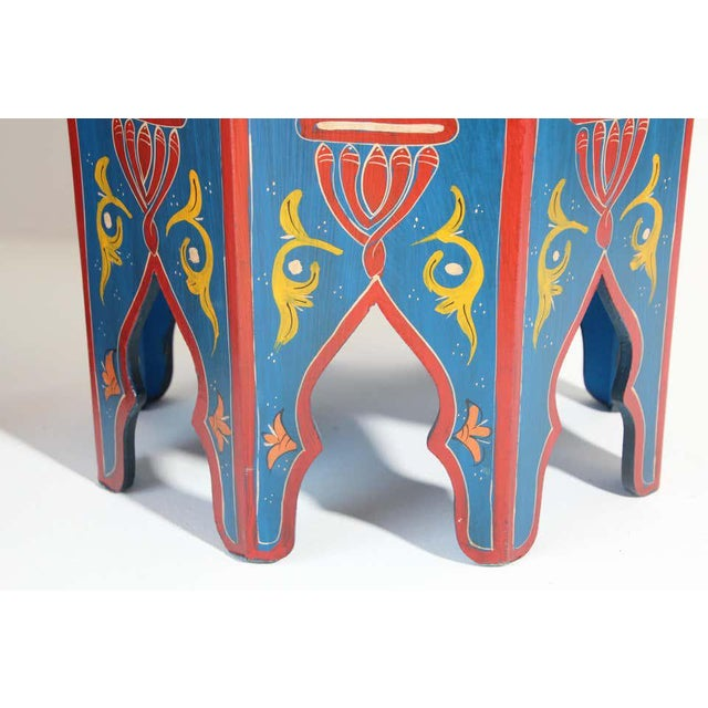 Hand Painted Blue Moroccan Pedestal Tables - a Pair For Sale - Image 10 of 13