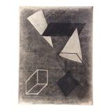 Image of 1950s Vintage Mid-Century Modern Geometric Abstract Drawing For Sale