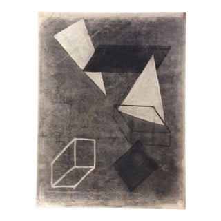 1950s Vintage Mid-Century Modern Geometric Abstract Drawing For Sale