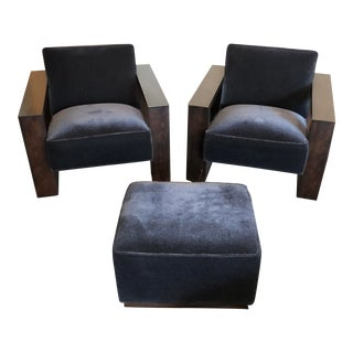 Vintage Gold + Williams Charcoal Mohair Chairs & Ottoman For Sale