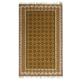 Vintage Mid-Century Sarkoy Geometric Beige-Brown and Green Wool Kilim Rug- 4′ × 6′4″ For Sale