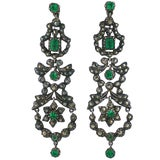 Image of Edwardian Marcasite and Paste Set Earrings For Sale