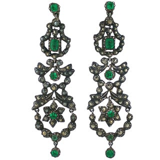 Edwardian Marcasite and Paste Set Earrings For Sale