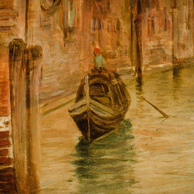 """Realism 19th Century """"Venice in June"""" Cityscape Oil Painting by Alfred Pollentine For Sale - Image 3 of 10"""