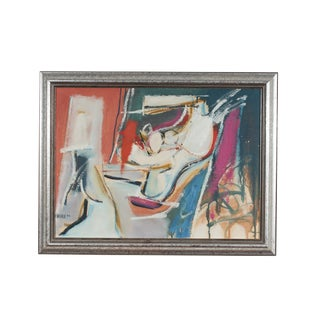 1954 Vintage Wallace Signed Mid-Century Modern Oil on Board Abstract Painting For Sale