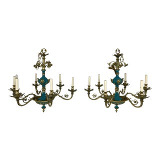 Russian Imperial Blue Bronze Chandeliers a Pair For Sale