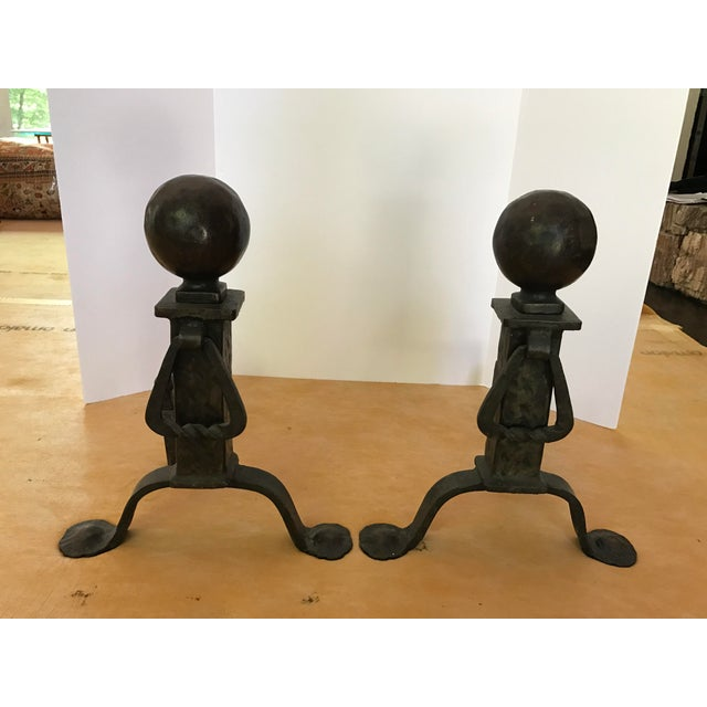Metal 1920s Traditional Black Cast Iron Fire Dogs Andirons - a Pair For Sale - Image 7 of 7