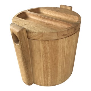 Vintage Mid Century Modern Wood Ice Bucket For Sale