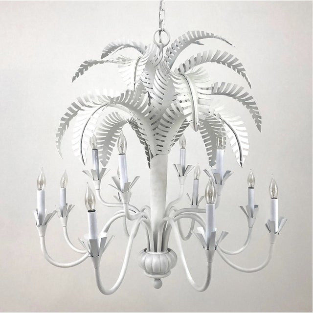 Late 20th Century Large Currey & Co. Palm Chandelier - Hand Painted White For Sale - Image 5 of 5