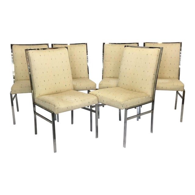 Chrome Upholstered Dining Chairs After Milo Baughman - Set of 6 - Image 1 of 8