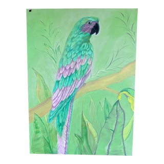 Large Green and Purple Parrot Painting For Sale