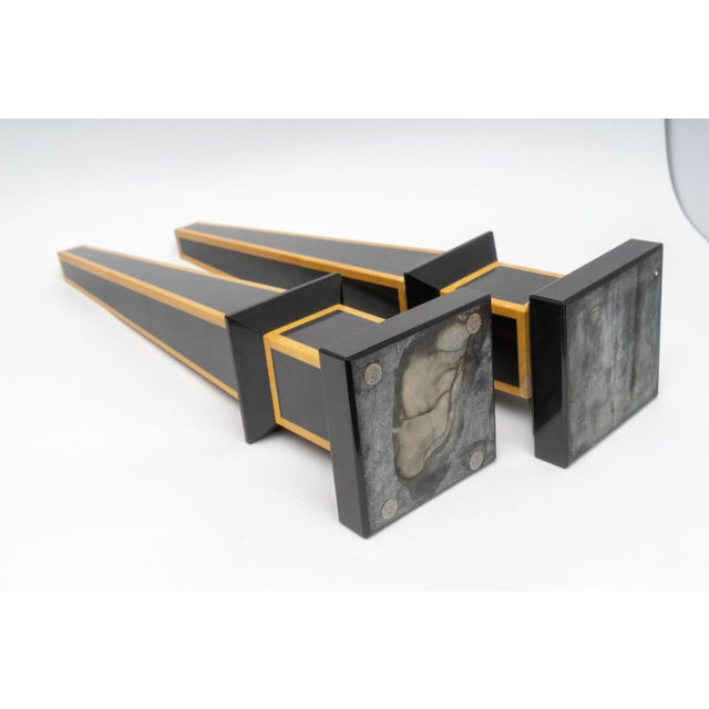 Black 1920s Egyptian Revival Art Deco Marble Obelisks - a Pair For Sale - Image 8 of 9