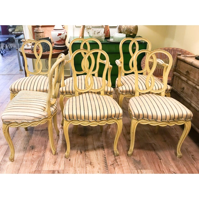 Set of 6 Mid Century Hollywood Regency Ribbon Back Dining Chairs - Image 4 of 12