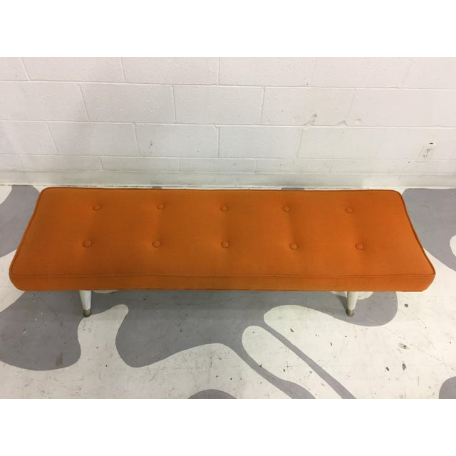 Mid-Century Modern Orange Bench - Image 5 of 6