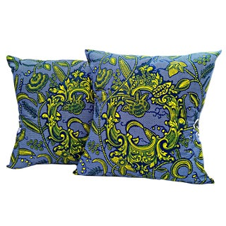 Lock & Key Blue African Print Fabric Pillow Covers - a Pair For Sale