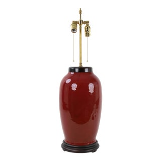 19th Century Chinese Qing Double Bulb Pull Switch Oxblood Glaze Lamp For Sale