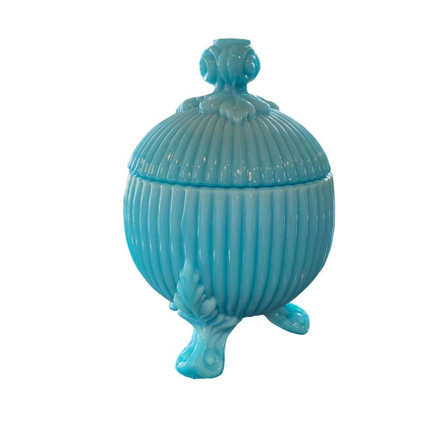 French Portieux Vallerysthal Blue Opaline Candy Dish For Sale - Image 3 of 6
