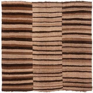 Tan & Brown Wool Kilim Square Rug - 6′8″ × 6′9″ For Sale