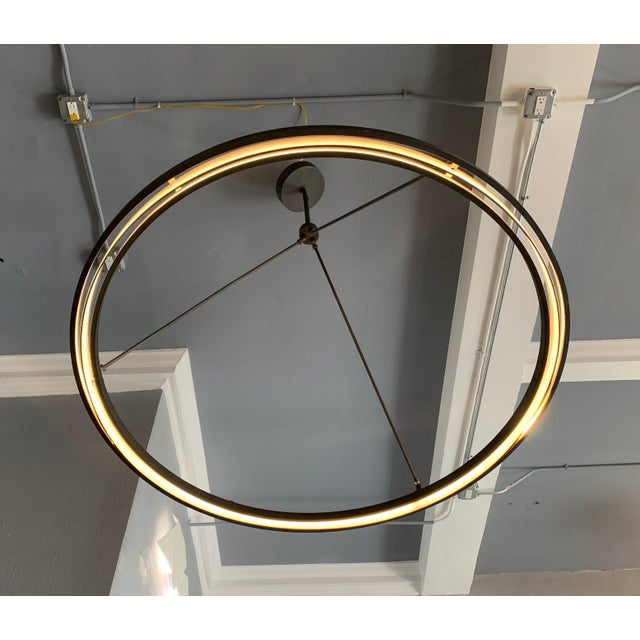 Bronze Peralta Round Chandelier by Jon Sarriugarte For Sale - Image 8 of 13